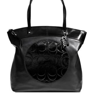 NEW Coach Signature Laura Black Leather Tote Handbag Purse F18336