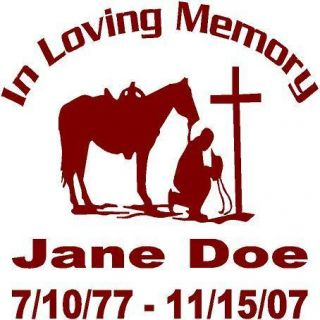 Cross and Horse Window Decal Sticker Personalized Memorial Rip