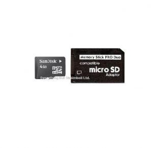 MEMORY STICK PRO DUO ADAPTER 4GB MICRO SD CARD FOR Sony PSP CYBERSHOT