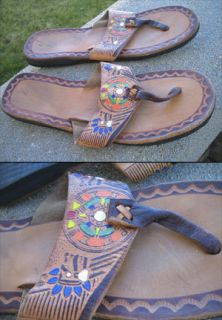 Vtg 70s Mens Aztec Mayan Hippie Thong Leather Sandals Sz 7 Mexico