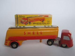 Original Issue Schuco Piccolo 744 Red Shell Gas Tank Semi Truck w box