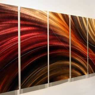 Red Gold Jewel Toned Metal Wall Art Painting Cosmic Burn