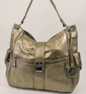 MICHAEL MICHAEL KORS RILEY BRONZE LEATHER LARGE SATCHEL SHOULDER BAG