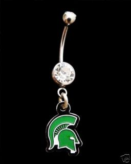 Michigan State University Spartans Navel Belly Ring CL