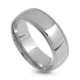 Wedding Band 8M Wide Milgram Polished Comfort Fit Stainless Steel Ring