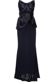 Mikael Aghal Satin and Crepe Navy Silk Gown Prom Dress New US 2