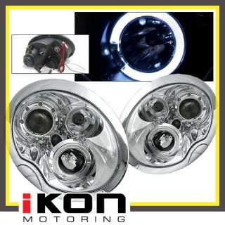 02 05 Mini Cooper Halo Projector Headlights Chrome