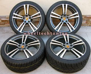 22 PORSCHE CAYENNE TURBO II STYLE WHEELS RIMS TIRES GUNMETAL WITH