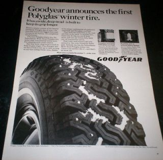 1968 Ad Goodyear 1st Polyglas Winter Snow Tire Wide Deep Tread Keeps