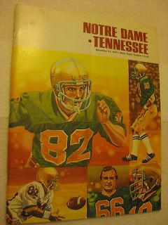 1978 NCAA Football   Notre Dame vs. Tennesse Game Day Program November
