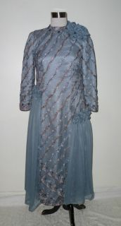 Barbara Ann Blue Gray Mother Of The Bride/Groom Beaded Dress Size M