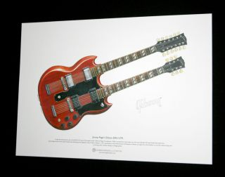 Jimmy Pages Gibson EDS 1275 ART POSTER A3 size