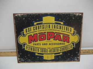 Vintage Mopar Chrysler Dodge Desoto Parts & Accessories Tin Metal Sign