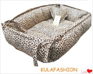 Handmade Leopard Print Pet Dog Cat Pet Bed Square 100% PP Cotton
