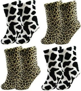 WOMENS LADIES ANIMAL PRINT SLIPPER SOCK BOOTS CHRISTMAS WINTER WARM