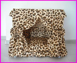 Leopard Print Dog Cat handmade bed house Brown S,M