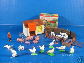 Vintage PLASTIC HUT FARM in original box Cake Decorations Party Favor