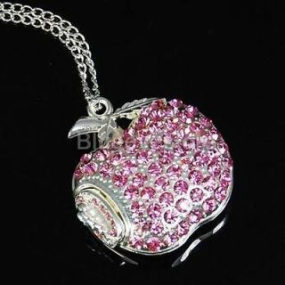 Pink Crystals Apple Necklace Jewelry USB 2.0 Flash Memory Pen Drive