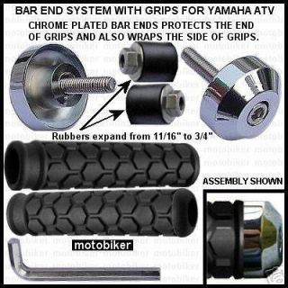 YAMAHA ATV GRIZZLY 90 125 250 300 350 BLACK GRIPS WITH CHROME BAR ENDS