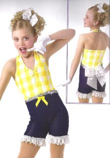 PICNIC POLKA Denim Sparkle Tap Jazz Dance Costume Country Girl AS,AM