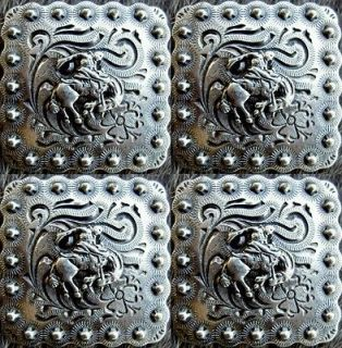 Silver Bronc Rider Conchos Horse Saddle Headstall Tack Bridle Rodeo
