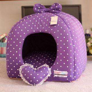 Rose/Purple Princess Pet Dog Cat Soft Bed House Tent Small+toy
