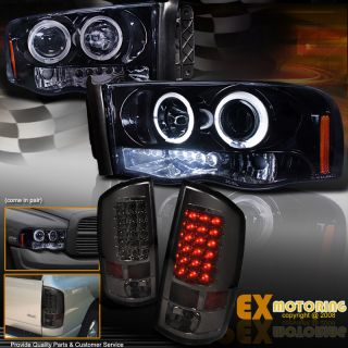 02 05 Dodge Ram (SHINY BLACK) Halo LED Projector Headlights+Smoke Tail