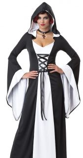 Sexy Womens Black White Medieval Vampire Halloween Costume
