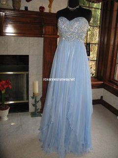 Sherri Hill 3874 Light Blue Chiffon Beaded Pageant Prom Gown