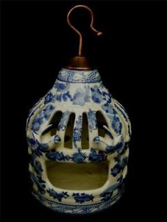 Blue & White Porcelain Hanging Birdcage bird cage w copper tone metal