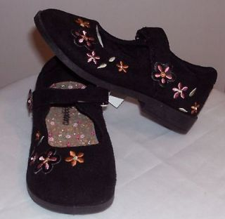 SCOOTERS TODDLER GIRLS BLACK FLORAL SUEDE SHOES