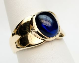 MENS RING VINTAGE ANTIQUE ART DECO BLUE SAPPHIRE 10K YELLOW GOLD