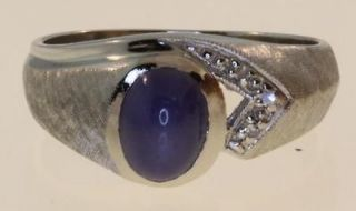 gold .03ct gents blue star sapphire diamond ring mens 6.4g vintage