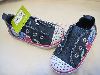 NWT GIRLS JUMPING BEANS CANVAS SNEAKER SHOES RHINESTONES SZ 5 R $24.99