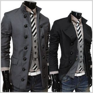 ) THELEES Mens casual Double Breasted 2 Way fitted jacket blazer coat