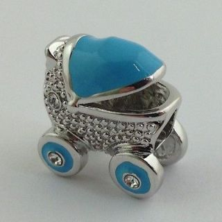 LAUREN G ADAMS RHODIUM & ENAMEL BLUE BABY CARRIAGE CHARM BEAD, FITS