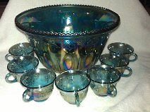 Indiana Blue Carnival Glass Princess Punch Bowl Set 12 Cup Hangers