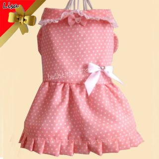 PINK DOG CAT Pet dog clothes Party Wedding Princess DOG Clothe dress