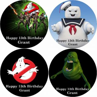 GHOSTBUSTERS / PERSONALISED ROUND EDIBLE ICING SHEET CAKE TOPPERS