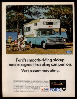 1966 blue Ford Camper Special pickup truck photo vintage print ad