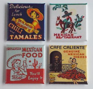 Food FRIDGE MAGNET Set cafe caliente hot tamale chili mexico matchbook