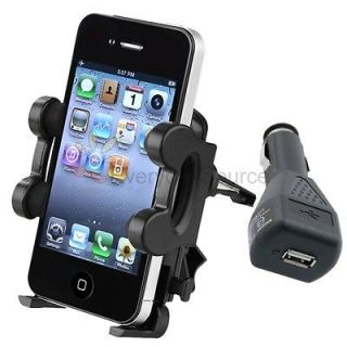 Car Vent Mount Cradle+Black Charger Accessory For iPhone 5 5G 5th 4 4G