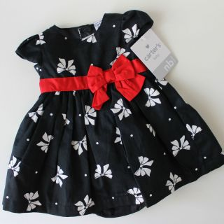 CARTERS Baby Girl HOLIDAY DRESS Black & Red Newborn 3Months Christmas