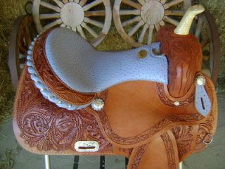 LIGHT WEIGHT FAST TURN 14 TURQUOISE OSTRICH WESTERN BARREL RACER