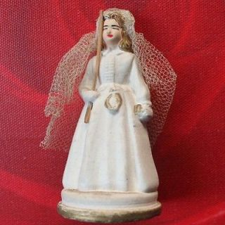 Old French Chalk ware Communion Girl statue Cake topper