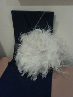 KATE SPADE EVENING CLUTCH BAG FEATHER White
