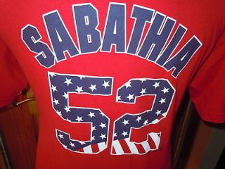 MAJESTIC SABATHIA #52 BASEBALL NEW YORK YANKEES SHIRT RED USA STAR L