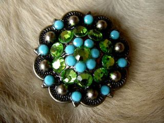 BERRY CRYSTALS BLING CONCHOS HORSE SADDLE HEADSTALL TURQUOISE GREEN