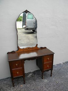ART DECO WALNUT VANITY DESK WITH MIRROR #2281