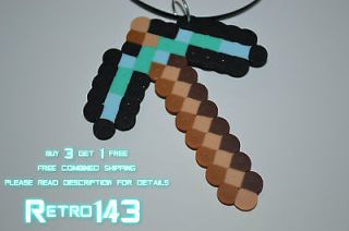 Minecraft Diamond Pickaxe Necklace Pendant Video Games